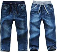 AFirst Pantalones de mezclilla para niños, con cordón elástico en la cintura ajustada, lavado de longitud comp