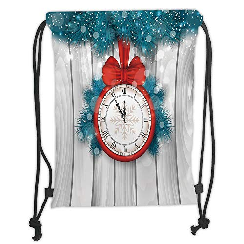 Fashion Printed Drawstring Backpacks Bags,Clock Decor,New Year Midnight A Clock and Fir Branch Illustration Decorations for Home,Red Light Grey Soft Satin,5 Liter Capacity,Adjustable String Closur -
