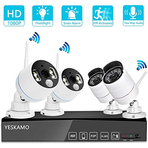 YESKAMO [Floodlight & Audio] Wireless CCTV Camera Systems with Audio 1080P 8CH NVR Recorder w/ 2x Floodlight Camera & 2x Wifi Camera for Outdoor Home Security with 2 Way Audio