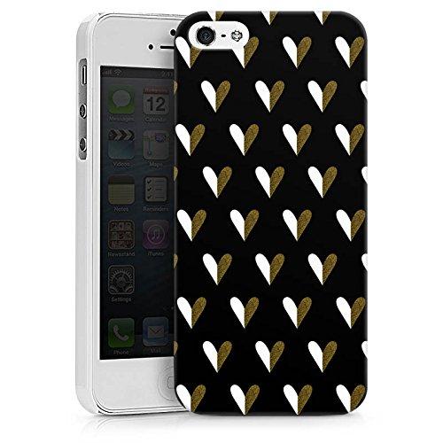 Apple iPhone X Silikon Hülle Case Schutzhülle Herzen Gold Muster Hard Case weiß