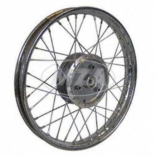 Speichenrad 1,5x16 Zoll - Stahlfelge, verchromt + Chromspeichen (Radnabe: Graugussbremsring, abgedrehte Flanken)