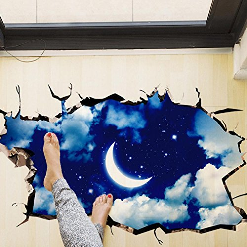 Indexp 3D Removable Bridge Sky Moon Beach Floor/Wall Sticker Vinyl Art Living Room Decors Decals (Style C)