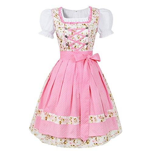 3tlg. Dirndl, Canvalite 3tlg. Oktoberfest Blümchenstoff Dots Mädchen Dirndl Set rosa - Trachtenkleid, Bluse, (Oktoberfest Dirndl Kostüm)