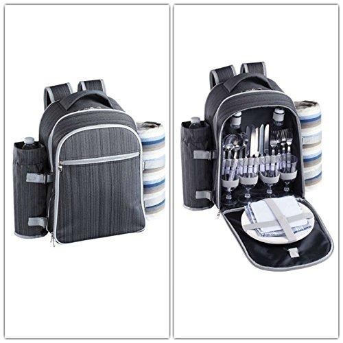 Isolierter Picknickrucksack mit Kühlfach Camping-Geschirr und Besteck (Picknick-Tasche für 4 Personen, Kühltasche, abnehmbarer Flaschenbehälter, 30 Zubehörteile)