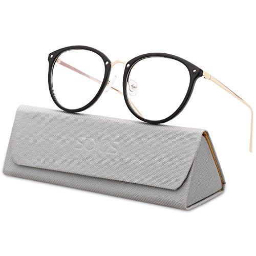 SOJOS Runde Brille Schick Optiker Klar Objektiv Brille Damen SJ5969 mit Schwarz Rahmen/Gold Bügel
