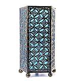 Lámpara de noche hecho a mano H30cm hierro forjado y tejido azul turquesa