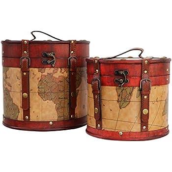 2x Hutkoffer Hutschachtel Hutbox Holz Antik-Stil Hut Box Schachtel Koffer Deko