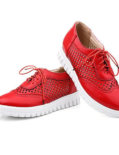 ZQ hug Scarpe Donna-Sneakers alla moda-Tempo libero-Zeppe / Punta arrotondata / Stivali-Zeppa-Finta pelle-Nero / Rosso / Bianco / Tessuto almond , red-us8 / eu39 / uk6 / cn39 , red-us8 / eu39 / uk6 /  black-us8 / eu39 / uk6 / cn39
