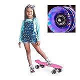 Relaxdays Skateboard LED für Kinder, 22 Zoll Mini Cruiser mit Leuchtrollen, ABEC 7 Alu-Trucks mit Gummi Wheels, pink