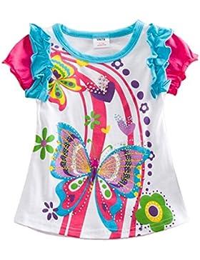 VIKITA Kinder Mädchen T-Shirt Tops Baumwolle Kurzarm Cartoon