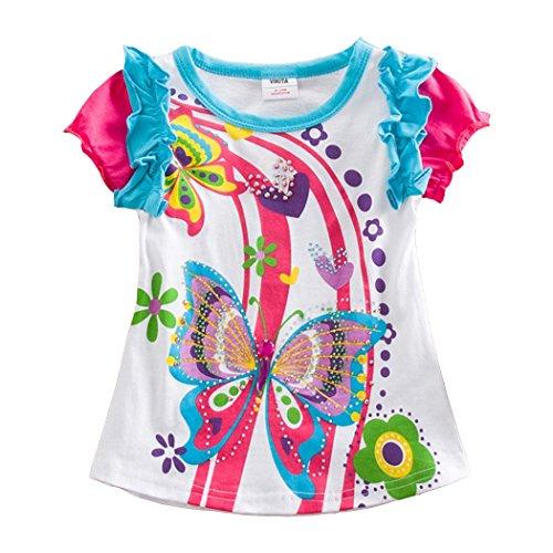 VIKITA Kinder Mädchen T-Shirt Tops Baumwolle Kurzarm Cartoon (2-3 Jahre=92-98cm, S3916) (Europa Mädchen T-shirt)