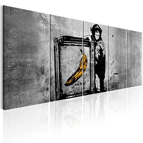 murando Akustikbild Banksy AFFE mit Banane 200x80 cm Bilder Hochleistungsschallabsorber Schallschutz Leinwand Akustikdämmung 5 TLG Wandbild Raumakustik Schalldämmung i-C-0116-b-m