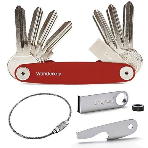 WUNDERKEY Ultimate Package – Key Organizer Set mit den beliebtesten Add-Ons [mit USB-Stick, Flaschenöffner & Schlüsselring | Schlüssel-Organizer], Rot Ninja-schlüssel-ring