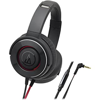 Audio Technica Solid Bass ATH WS550iSBK Over Ear Headphones with in line Mic  Black/Red