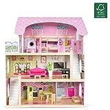 Kledio Puppenhaus aus Holz für Mädchen und Jungen ab 3 Jahren, große Puppenstube, Kinder Spielzeug aus Holz FSC 100%, inkl. 16-teiliges Zubehör Set