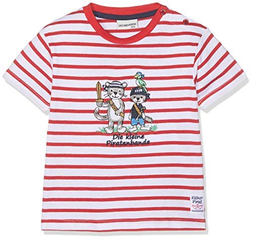 SALT AND PEPPER Baby-Jungen B Pirat Stripe Bande T-Shirt, Rot (Red 358), 92 -