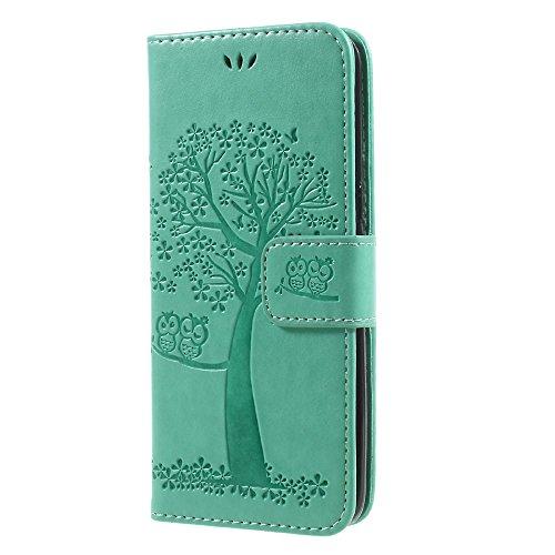 jbTec® Flip Case Handy-Hülle Book #M58 Baum passend für Samsung Galaxy S8 - Handy-Tasche Schutz-Hülle Cover Handyhülle Bookstyle Booklet Handschlaufe, Farbe:Mint-Grün, Modell:Galaxy S8 / Duos/SM-G950