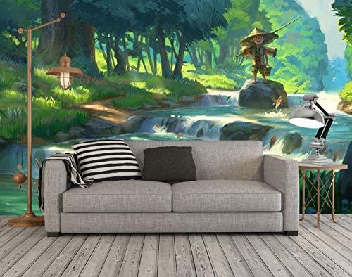 Muralayf Benutzerdefinierte Tapeten Handgemachte Psychedelische Wald Abstrakte Ölgemälde Wohnzimmer Tv Hintergrund Cartoon Kinderzimmer Wandbild-128Cmx100Cm