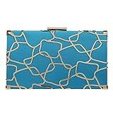 Bonjanvye Geometric Cutout Metal Evening Gown Party Clutch Blue