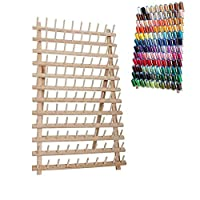Foldable Wooden Thread Rack Holder,120 Spool Cone Bobbins Spools Stand, Thread Organiser, Wall Mount Spool Holder, Machine Sewing Embroidery Quilting Storage Holder,Sewing Craft Tools