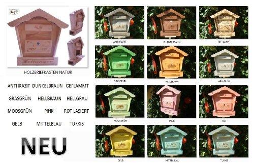 Holz-Briefkasten, Briefkasten HBK-SD-NATUR groß hell natur unbehandelt für Gartenhaus Holzhaus und Eingang Gartendeko mit Holzdach Dekoration Briefkästen Postkasten Spitzdach - 3