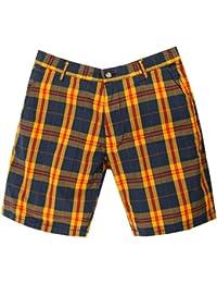 Gant Rugger Hommes Shorts Bleu foncé/Jaune R.1. Poplin Madras Shorts 21081-409