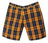 Gant Rugger Herren Shorts Dunkelblau/Gelb R.1. Poplin Madras Shorts 21081-409, Weite:W32