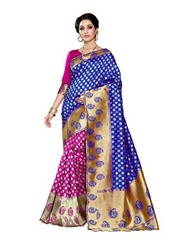 J B Fashion Silk Saree With Blouse Piece(Banarasi-1-1-1-Blue-Pink_Blue Free Size)