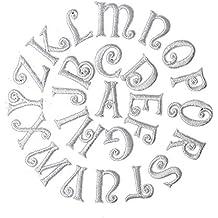Blanco Alfabeto carta parche sew hierro en parche insignia Jeans ropa Applique costura adhesivo 25 mm