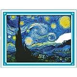 """KAMIERFA de punto de cruz, diseño de noche estrellada de Van Gogh pintura 14Count 18,5""""X14.57"""""""