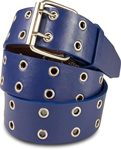SCAMODA Doppelloch Nietengürtel mit echtem Leder für Damen und Herren, Breite ca. 3,5 cm