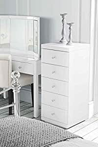 MY-Furniture - Chiffonnier en verre blanc JULIANNA avec 5 tiroirs