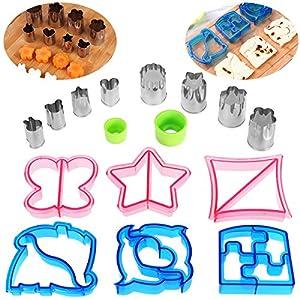 OUNONA Ausstecher von Sandwich, Keks und Brot-Set von 16 hoch - 6 Brotschneider mit 8 Mini Gemüse Cutter Shapes Set für Kinder