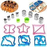OUNONA 16 Stück Ausstecher von Sandwich, Keks und Brot - 6 Brotschneider mit 8 Mini Gemüse Cutter Shapes Set für Kinder