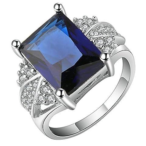 Smile YKK Bague Bleu Femme Argent 925 Anneau Cristal Bijoux pour Anniversaire Mariage Elégant Périmètre 54.4cm