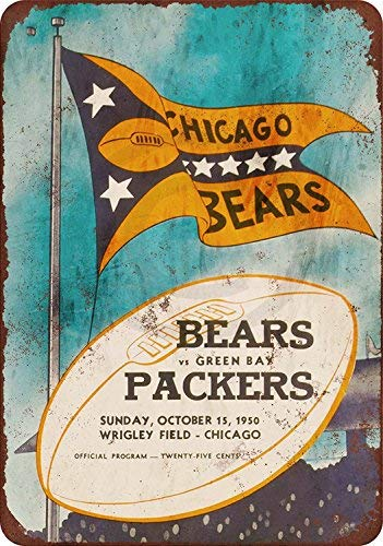 qidushop 1950 Chicago Bears vs Green Bay Packers Reproduktion Retro Metall Wanddeko Kunst Shop Man Cave Bar Garage Aluminium 20 x 30 cm Schild