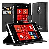 Cadorabo Hülle für Nokia Lumia 925 Hülle in Phantom schwarz Handyhülle mit Kartenfach und Standfunktion Case Cover Schutzhülle Etui Tasche Book Klapp Style Phantom-Schwarz