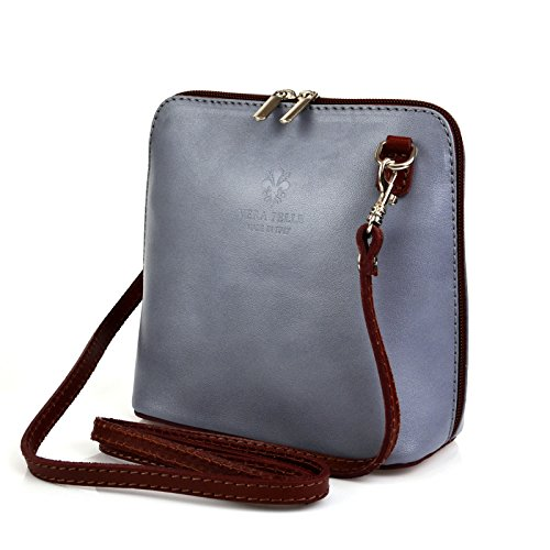 Damen Satchel-Tasche, grau Vera Pelle