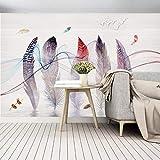 L22LW Wandbild Modernes, Minimalistisches Handgemalten Aquarell Federn Linie Schlafzimmer Wohnzimmer Fernseher Sofa Wand Tapeten Wandbilder, 500 Cm * 280 Cm (H)