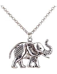 Yaizlind Collar retro pendiente de plata tibetana relieve Elefante cadena para las mujeres
