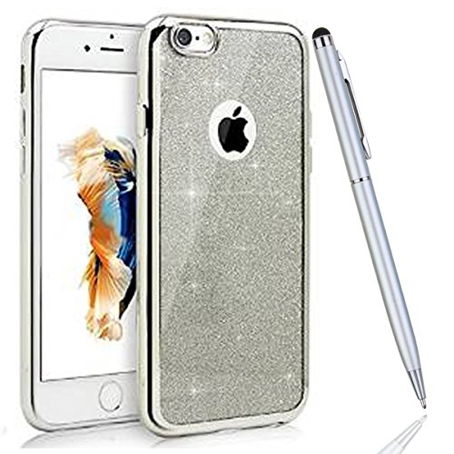 iPhone 5S Coque,iPhone SE Silicone Coque,iPhone 5 Housse - Felfy Glitter Etui Housse Placage Coque en Silicone Ultra-Mince Etui Soft Housse Plating Case Slim Gel Cover, Felfy Etui de Protection Cas Ul argent placage
