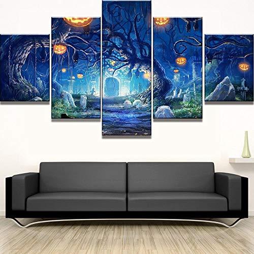 MIYCOLOR 5 Stück HD Print große Halloween Kürbis Baum Cuadros Decoracion Gemälde auf Leinwand Wandkunst für Inneneinrichtungen Wall Decor @ 40x60_40x80_40x100 (Halloween De Decoracion)
