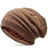 Caspar MU202 warme Strick Beanie Mütze mit Fleece gefüttert, Farbe:khaki, Größe:One Size