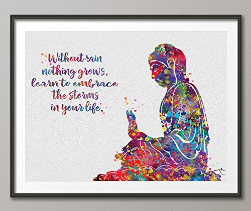 COCOMILLA Buddha Zitat Regen Watercolor Print Wall Art Poster Buddhismus Meditation Decor Art Home Religion Decor Wandbehang Zen Yoga poster-875 23.44 x 33.10