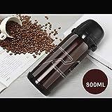YZGS Acero inoxidable vacío termostato vaso de agua al aire libre 800ML/Color café