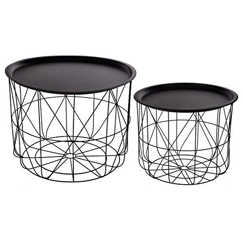 Set aus 2 Satztischen mit abnehmbaren Tischplatten - Modernes Design - Farbe SCHWARZ