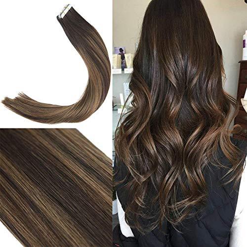 Sunny evidenziare le estensioni dei capelli 16 pollice marrone con miele biondo lisci tape in pelo umano extensions 50g