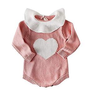 Recién Nacido Mono de una Pieza Recién Nacido bebé bebés niños niñas Punto Mameluco corazón Mono Ropa Trajes 9
