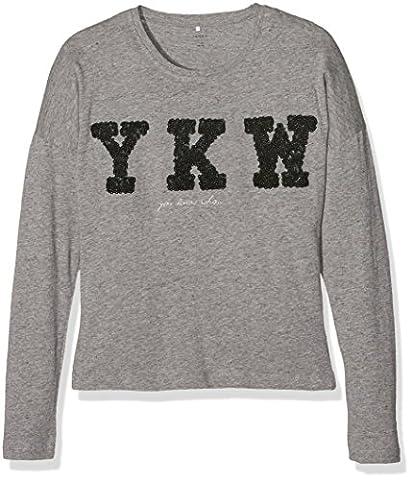 NAME IT NITKATHE LS TOP NMT, T-Shirt À Manches Longues Fille, Gris (Grey Melange), 140 (Taille fabricant: 134-140)