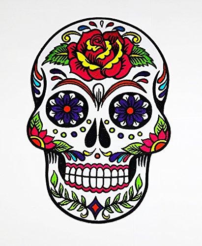 rabana XXL weiß Sunny Buick Rose Sugar Skull Patch Sew Iron on gesticktes Badge Schild (Funny Halloween Kostüme Bones)